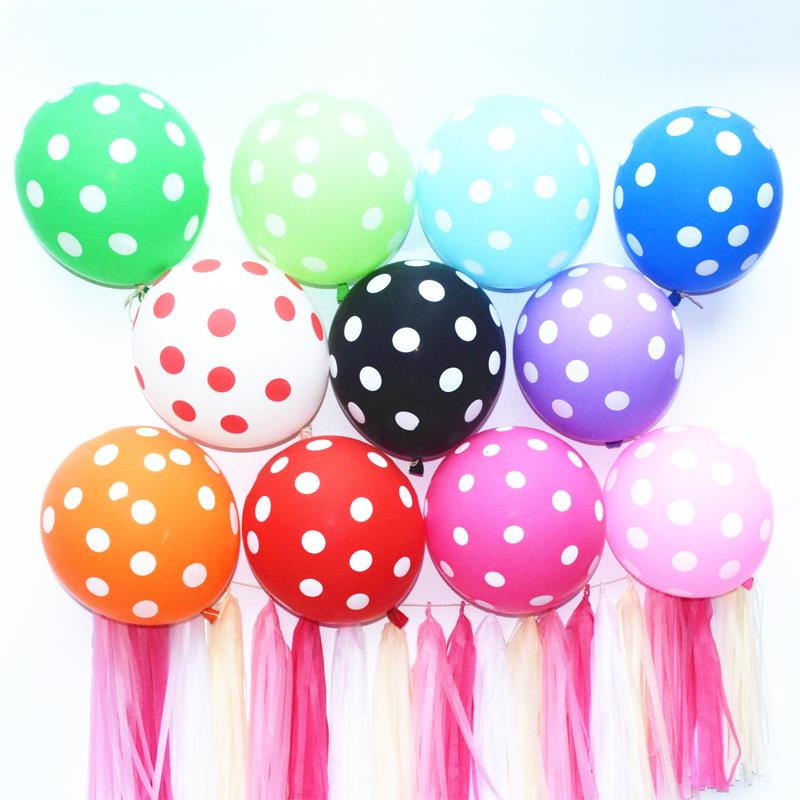 12 Latex Polka Dot Balloon Classic Toys Birthday Wedding Marry Marriage Room Decoration Essential Helium font